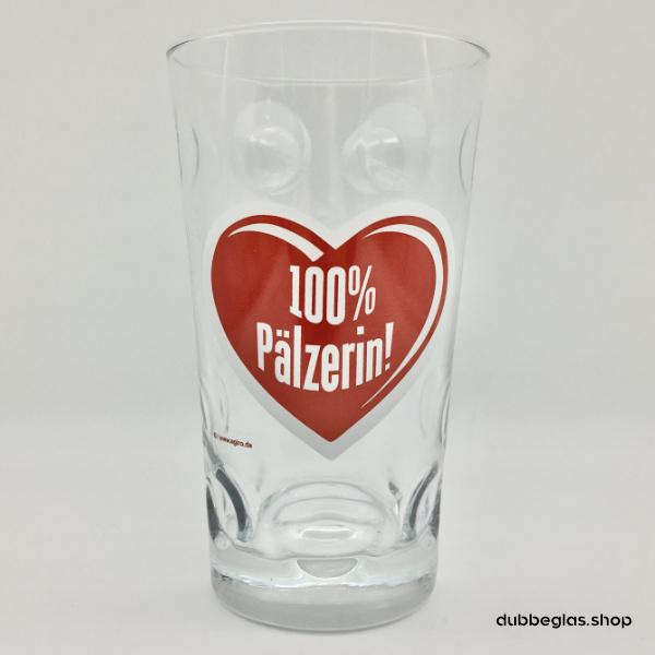 dubbeglas mit aufdruck