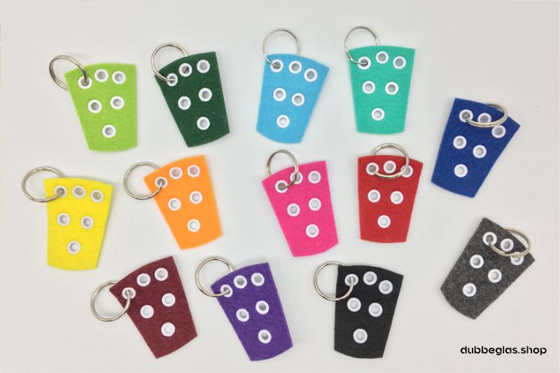 Pfalz Dubbeglas Anhänger und Schlüsselanhänger aus Filz in verschiedenen Farben