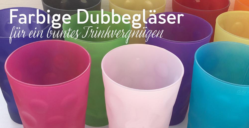 farbige Dubbegläser und Weingläser