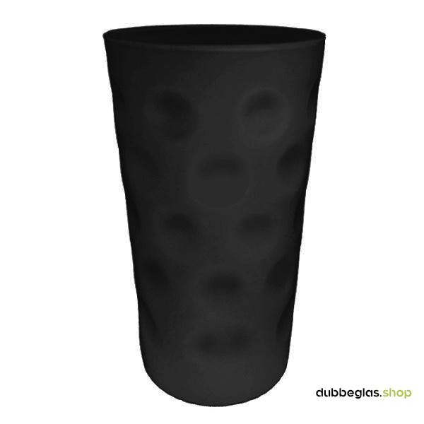 Schwarz matt farbiges Dubbeglas 0,5 l ganz gefärbt