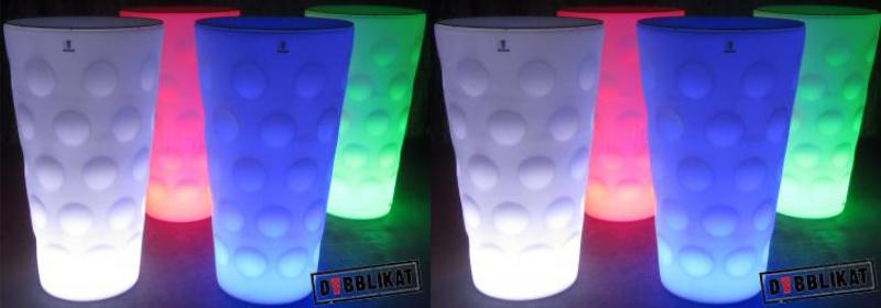 LED Dubbeglas Stehtisch mit Farbwechsel