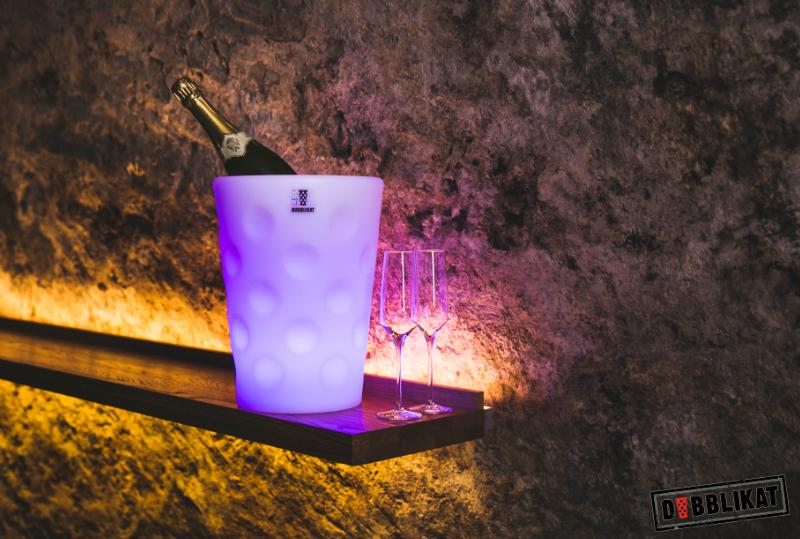 LED Dubbeglas Sektkühler und Weinkühler