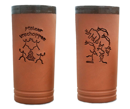 Pfälzer Urschobbe Tonbecher - 0,5 l Schoppenglas