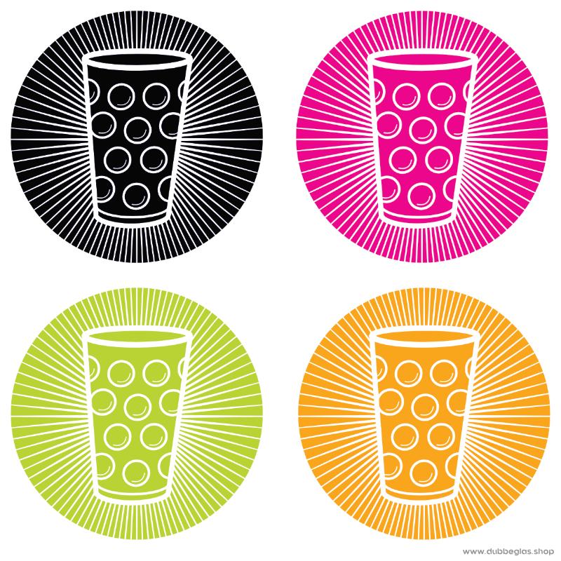 Dubbeglas Aufkleber in verschiedenen Farben
