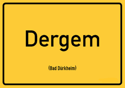 Bad Dürkheim - Pfalz Ortsschild Postkarte   Auf Pfälzisch: Dergem