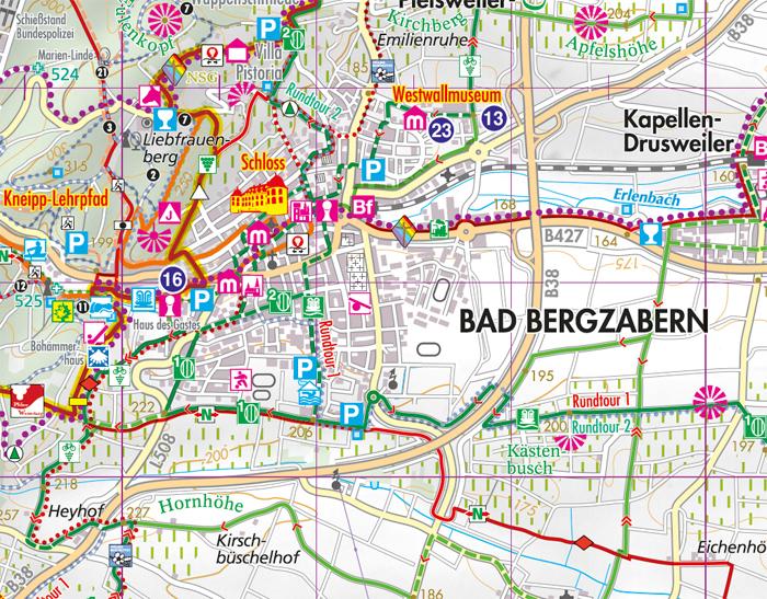 Kartenausschnitt Bad Bergzabern Wanderkarte