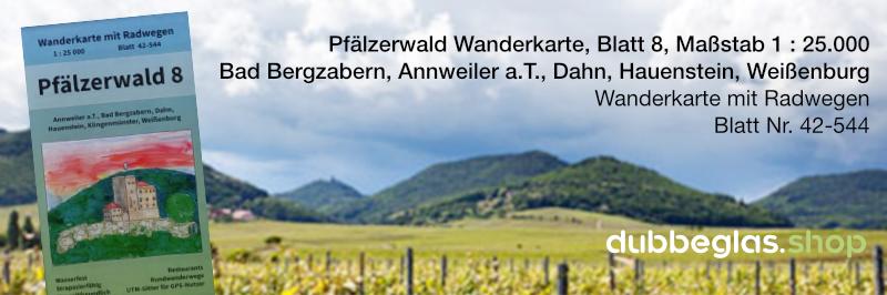 Pfälzerwald Wanderkarte für Bad Bergzabern, Annweiler am Trifels, Dahn, Hauenstein, Weißenburg