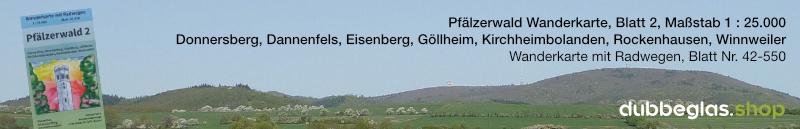 Pfälzerwald Wanderkarte für den Donnersberg, Dannenfels, Eisenberg, Göllheim, Kirchheimbolanden, Rockenhausen und Winnweiler