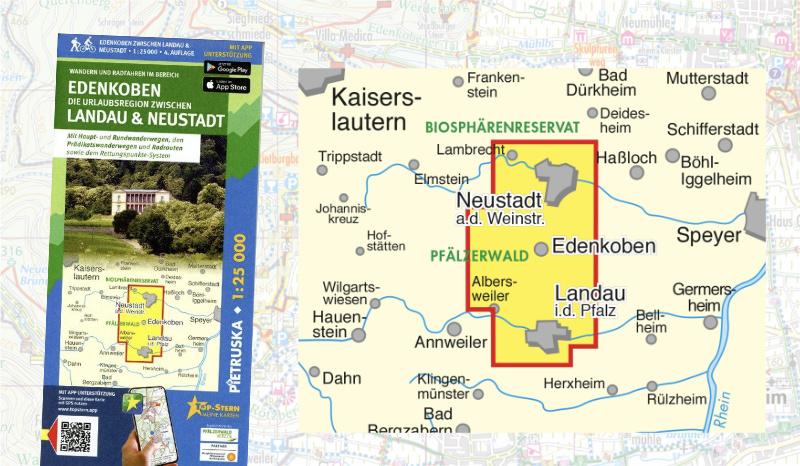 Wanden und Wanderwege in Edenkoben, Landau und Neustadt - Wanderkarte