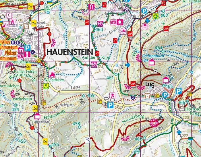 Ausschnitt aus der Wanderkarte Hauenstein und Trifelsland
