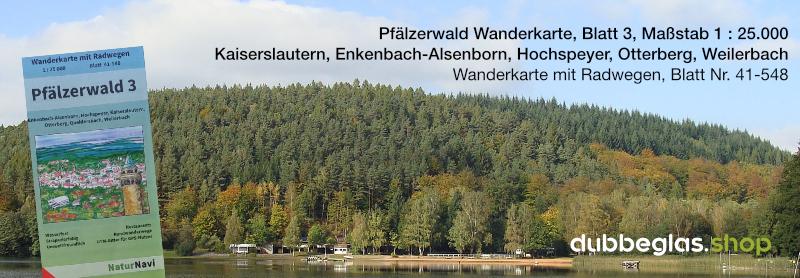 Pfälzerwald Wanderkarte für Kaiserslautern, Enkenbach-Alsenborn, Hochspeyer, Otterberg, Queidersbach, Weilerbach