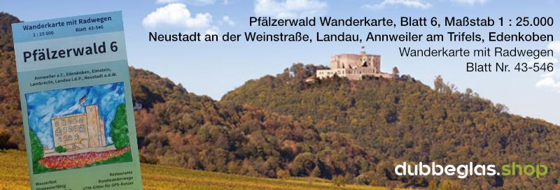 Pfälzerwald Wanderkarte für Neustadt an der Weinstraße, Landau in der Pfalz, Annweiler am Trifels, Edenkoben