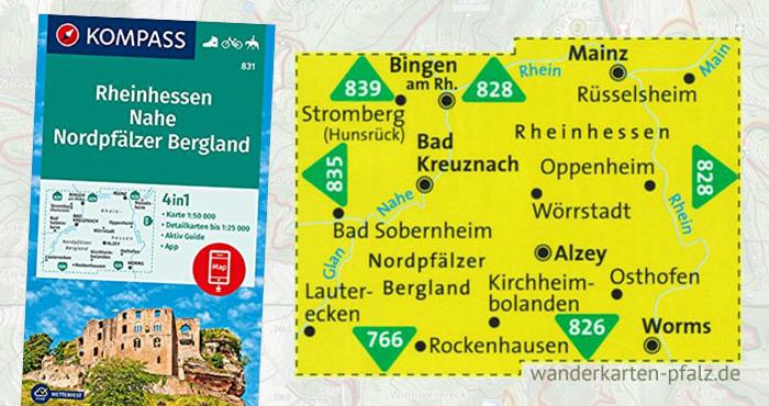 Nordpfälzer Bergland Wanderkarte mit Nahe und Rheinhessen - Kompass Karte Übersicht