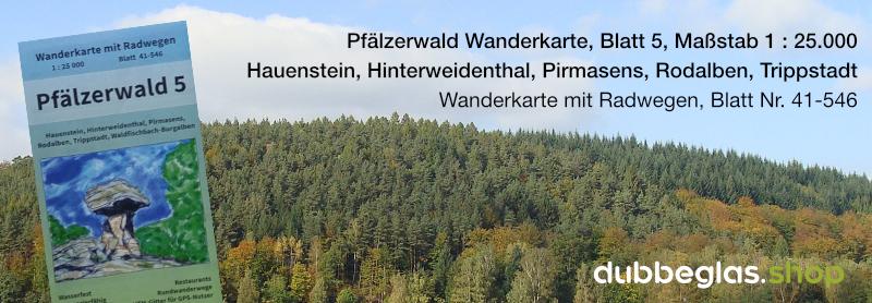 Pfälzerwald Wanderkarte für Hauenstein, Pirmasens, Rodalben und Trippstadt
