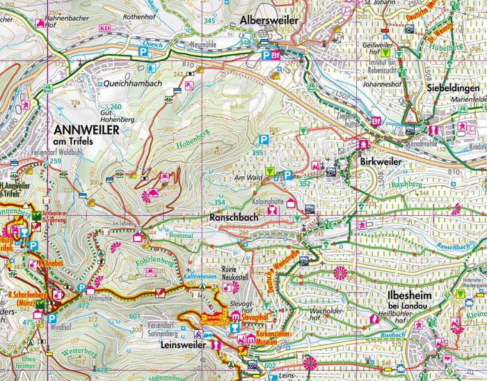 Überischt der Südpfalz Wanderkarte