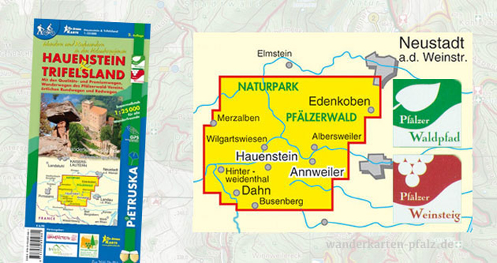 Wandern und Wanderwege in Hauenstein und Trifelsland - Wanderkarte