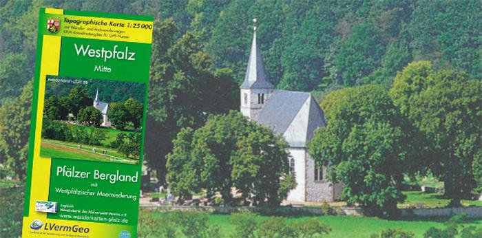 Westpfalz Mitte Wanderkarte für das Pfälzer Bergland mit den Wanderwegen des Pfälzerwald-Vereins