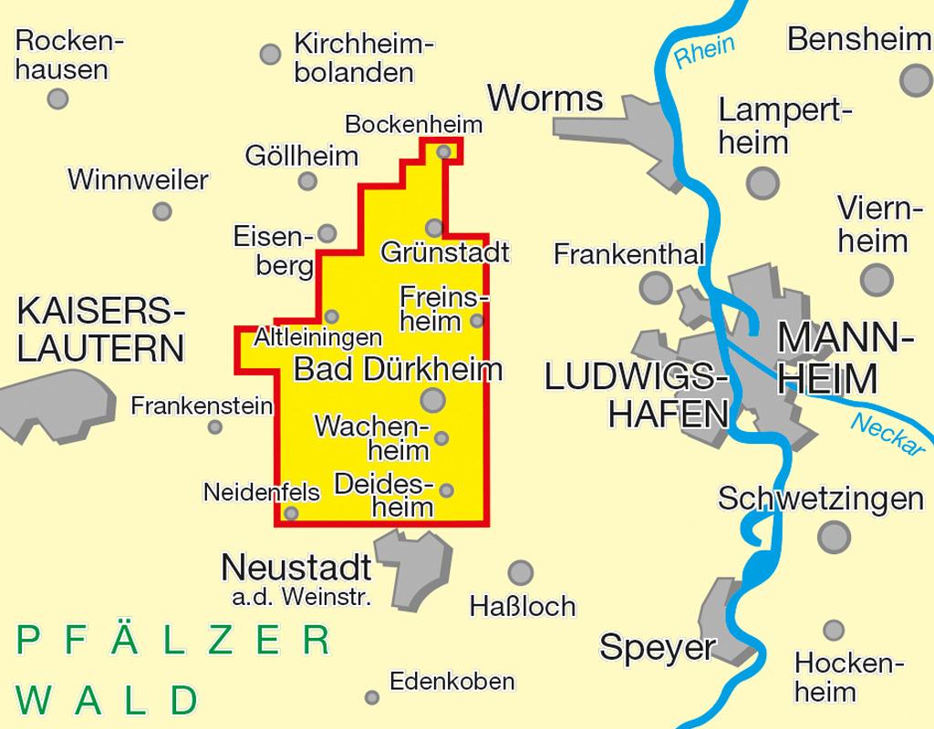 Wandern und Wanderwege in Bad Dürkheim - Übersichtskarte