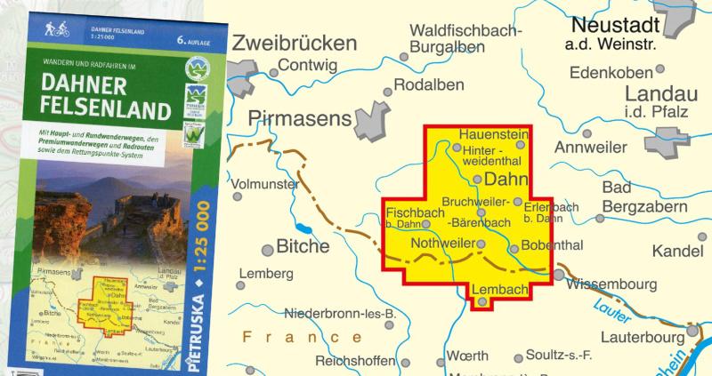 Dahn und Dahner Felsenland Wanderkarte mit den Wanderwegen