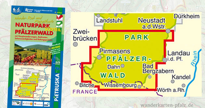 Wandern und Wanderwege im Pfälzerwald Südteil - Wanderkarte und Radkarte