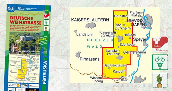 Wandern und Wanderwege für die Deutsche Weinstraße - Wanderkarte