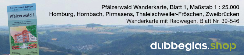 Pfälzerwald Wanderkarte für Homburg, Hornbach, Pirmasens, Thaleischweiler-Fröschen und Zweibrücken