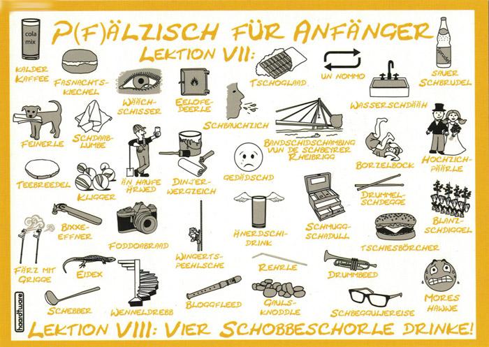 Postkarte: Pfälzisch für Anfänger - Lektion VII & VIII