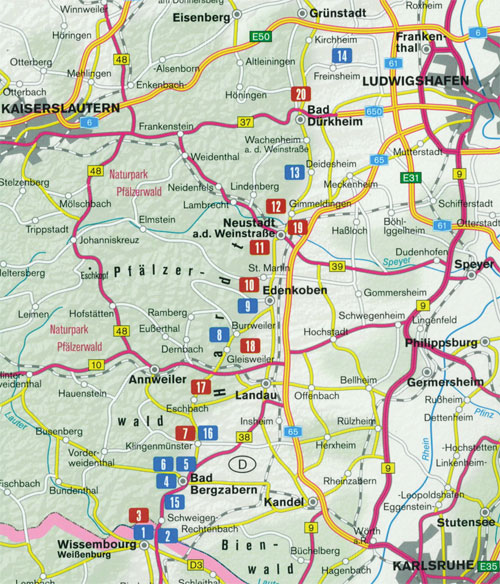 Deutsche Weinstraße - Übersicht des Wanderführers