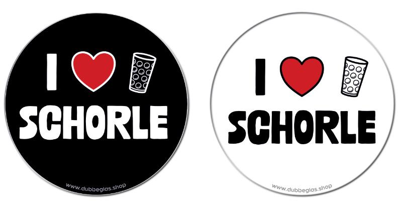 I love Schorle - Die Dubbeglas Untersetzer sind beidseitig bedruckt