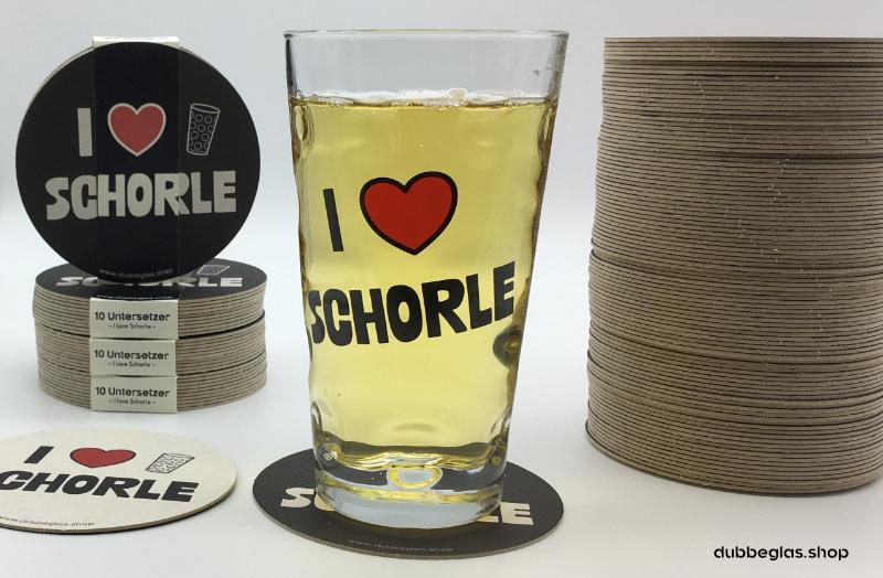 I love Schorle - Dubbeglas Untersetzer im 10er und 100er Pack