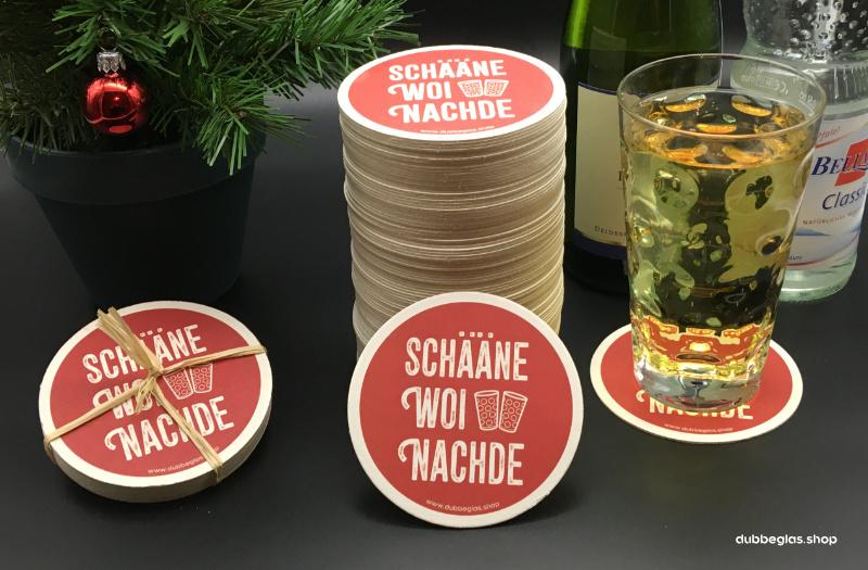 Schääne Woinachde  - Dubbeglas Untersetzer